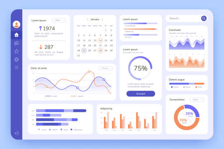 Dashboard. UI infographic, data graphic and chart. Screen with business analytics. Admin statistical software, web interface vector template. Illustration statistical infographic data screen