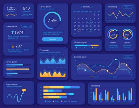 Hud interface. Futuristic ui screen with data display, statistic graphs, menu and calendar. Dashboard info panel and element vector template. Presentation structure chart report menu illustration Stock Illustratie