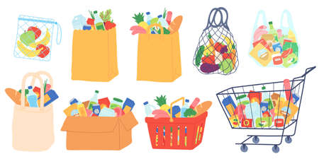 Grocery bags and carts. Shopping basket, paper and plastic packages, eco bag with organic food. Supermarket goods and groceries vector set. Illustration basket bag and cart with food Stock Illustratie