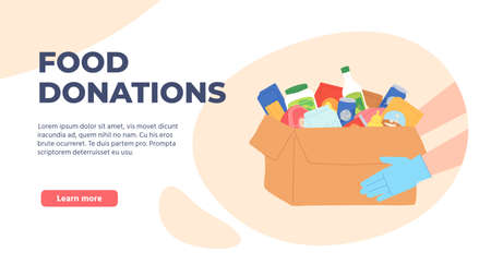 Food donation. Volunteers hands in gloves holding box with grocery and products. Charity food drive poor homeless people vector concept. Illustration donate and care, assistance food and help charity Stock Illustratie