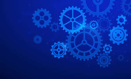 Gears background. Abstract blue futuristic graphic with cogs and wheels system. Digital it and engineering. Future technology vector concept. Illustration transmission steel cogwheel Stock Illustratie