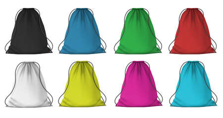Color sport backpack mockup. Realistic cloth packs with ropes for clothes. Fabric red, blue, pink and green drawstring bags, 3D vector set. Illustration pouch luggage, haversack mock-up