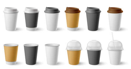 Paper cup. Cardboard cups with cap and mugs for hot coffee and tea. Realistic black, white, brown cafe drinks eco packages mockup vector set. Container drink for cafe, coffee or tea hot illustration