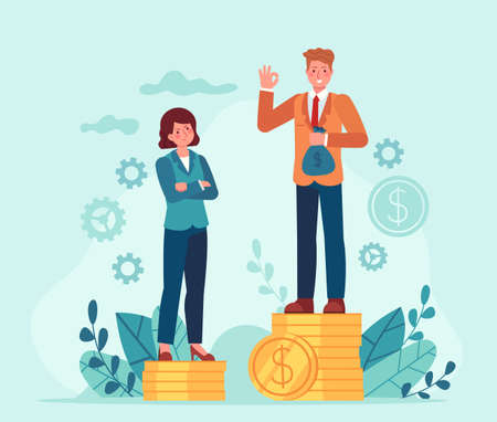 Gender salary gap. Business man and woman standing on unequal money stacks. Female discrimination. Inequality in job payment vector concept. Illustration finance rights unequal, payment disparity