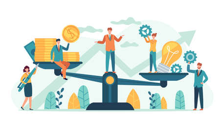 Money and idea balance. Investor compare business ideas and finance on scales. Buying creative project or startup, tiny human vector. Illustration idea equality profit, harmony and balance investment Stock Illustratie