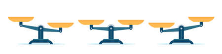 Scales in balance and imbalance. Flat libra icon with gold bowls in equal position. Weight mass comparison on leverage scales, vector set. Illustration equality measurement, weigh imbalance Stock Illustratie