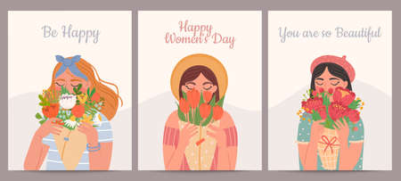 Woman with flower bouquet. Happy international womens day, valentines and mothers days. Beauty girls and spring bouquets vector card set. Illustration young woman, holiday mother day card Stock Illustratie