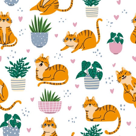 Cat seamless pattern. Red cats and plants in pots repeated wallpaper in scandinavian style. Cartoon funny kittens print, vector background. Illustration scandinavian background pet striped