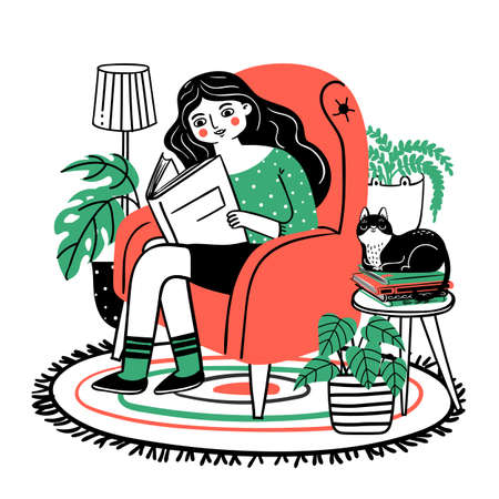 Woman reads in chair. Happy relaxed girl reading book in cozy armchair at home. Books lover with plants and cat. Hand drawn vector concept. Woman read book in chair with cat illustration
