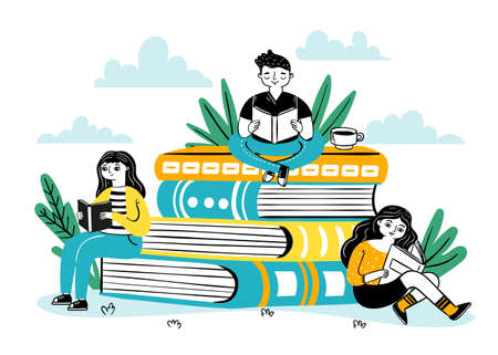 Reading on pile of books. Happy students sit on big book stack, read and learn. Books festival poster for bookstore, library vector concept. Illustration training and studying, pile book literature Ilustracja