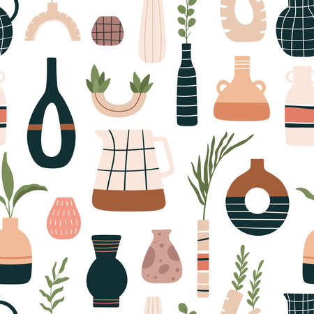 Vase seamless pattern. Ceramic vases, jugs and jars with tropical leaves in modern scandinavian. Beautiful floral pottery vector. Illustration scandinavian pattern seamless, bloom floral in pottery