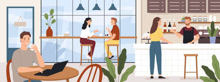People coffeehouse. Cafe interior man and woman drinking coffees. Barista and customer in cafeteria or coffee shop, vector concept. Illustration cafe interior, man and woman in restaurant and coffee