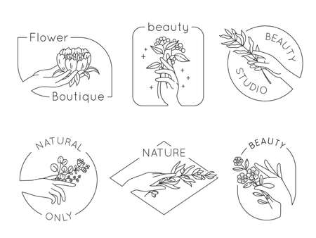 Line hand and flower logos. Floral beauty salon, spa and cosmetics logo with woman hands. Emblems for natural handmade, vector set. Spa logo sketch outline blooming, beauty cosmetic illustration Stock Illustratie