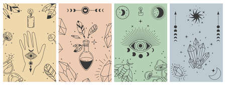 Mystical boho posters. Esoteric line prints with astrology symbols, crystals, potion, evil eye and occult hand. Tarot card vector concepts. Illustration esoteric astrology print, occult symbol Stock Illustratie