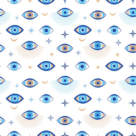 Evil eye seamless pattern. Magic talisman and occult symbol. Greek ethnic blue, white and golden third eyes. Flat vector abstract wallpaper. Talisman eye amulet seamless wallpaper illustration Stock Illustratie