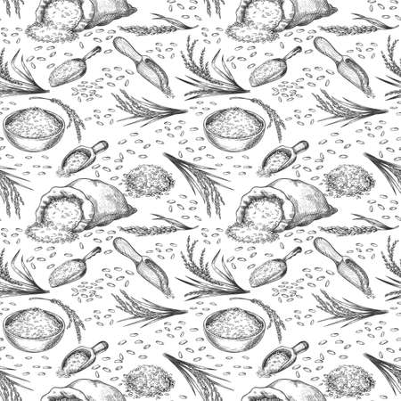 Sketch rice seamless pattern. Outline cereal ears, bag and bowl grains and seeds. Healthy asian food, rice hand drawn vector background. Illustration farming agriculture sack, seamless pattern grain Stock Illustratie