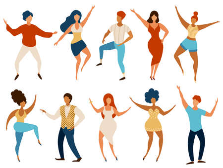 Dancing people. Happy young men and women dance and having fun. Cartoon party dancers company. Teenage girls and boys in club, vector set. Illustration people disco cheerful entertainment