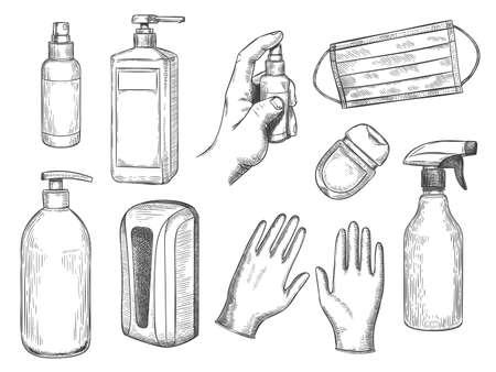 Sketch sanitizer bottle. Personal protective equipment. Medical mask, gloves, liquid soap and antibacterial spray. PPE hand drawn vector set. Illustration sanitizer bottle against virus Stock Illustratie