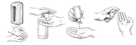 Sketch hands sanitizers. Person clean hand with alcohol gel, wall sanitizer, spray and antiseptic in bottle. Prevention covid-19 vector set. Illustration wall sanitizer bottle for protection health Stock Illustratie