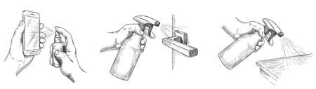 Surface cleaning sketch. Disinfect house surfaces and door handle with sanitizer sprays. Hands hold spray and clean phone screen, vector set. Sketch hygiene and prevention disinfection illustration Stock Illustratie