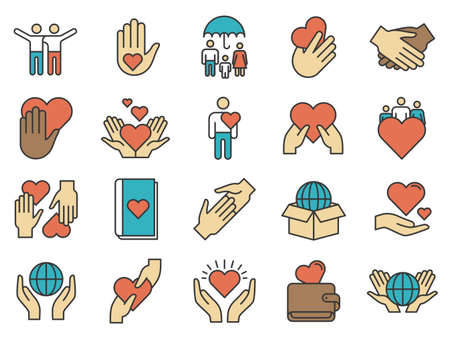 Friends icons. Love and friendship icon. Family protection and support, volunteer help, handshake and hand share heart, vector. Illustration support volunteer and foundation, cooperation humanitarian