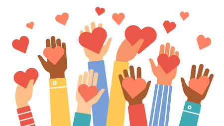 Hands donate hearts. Charity, volunteer and community help symbol with hand gives heart. People share love. Valentines day vector concept. Give sign red heart in hand illustration