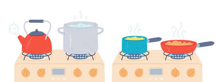 Pot and pan on stove. Preparing food and boiling water in saucepan and kettle with steam on kitchen gas stoves. Cooking on fire vector set. Water boiling on flame, cooker with flame