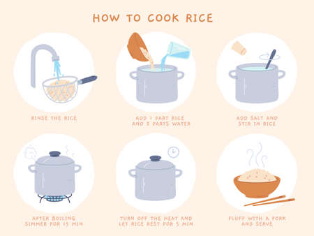 Rice recipe. Easy directions of cooking porridge in pot. Making boiled rice process in steps. Preparing hot chinese food vector instruction. Boiling and serving dish in bowl with chopsticks