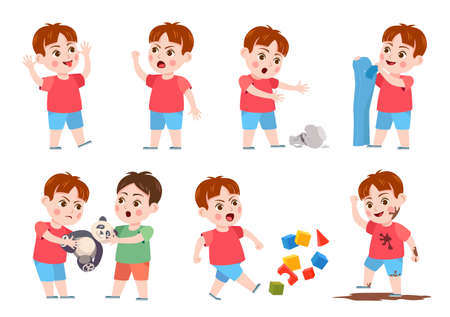 Kids bad behavior. Bully making mess, scream, angry, rips clothes and break vase. Naughty boy fighting over a toy. Problem child vector set. Child ruining cubes, jumping in mud and teasing Vetores