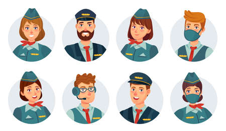 Air crew avatars. Airline pilot, ship captain, stewardess, flying attendant and flight engineer round icon. Airport staff in mask vector set. Smiling woman and man in uniform, flying service Vektorové ilustrace