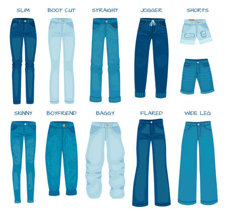 Women jeans fits. Denim female pants models skinny, straight, slim, boyfriend and boot cut. Silhouette styles of jean trousers vector set. Girlish casual outfit as baggy, flared, shorts