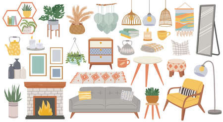 Scandinavian furniture. Cozy home furnishing for living room. Hygge style plants, lamp, armchair, pillow and sofa. Boho interior vector set with kettle, books, fireplace and paintings