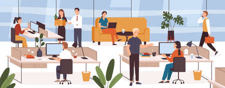 Busy people in office. Company modern workplace interior with employees sitting tables and computers. Scene with work process vector concept. Female and male colleagues working in open space Ilustrace