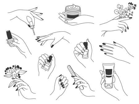Hand manicure and care. Female logos for nail cosmetics and beauty spa salon. Hands paint, file nails, holding polish and cream, vector set. Doing manicure with nail polish, lotion