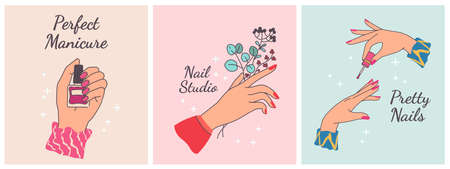 Nail manicure print. Posters for beauty salon with woman hands. Manicured fingers with painted polished nails. Spa trendy design vector set. Hand holding plant branches and bottles