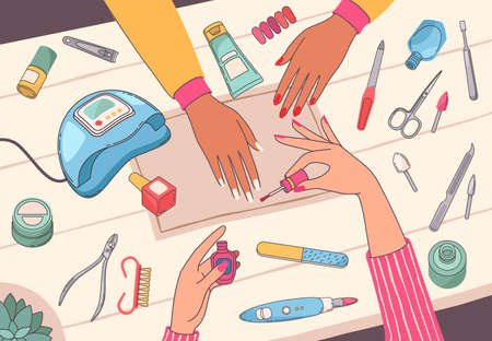 Manicure salon. Manicurist painting customers nails on table with nail tools and cosmetics. Female hands care beauty service vector concept with ultraviolet lamp, file, polish and scissors