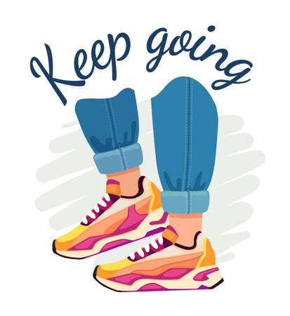 Slogan and sneakers. Street fashion poster with walking feet in jeans and sport shoes, motivational quote. Keep going vector t-shirt print. Male character wearing footwear or trainers Ilustrace