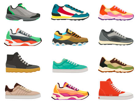 Sneakers shoes. Fitness footwear for sport, running and training. Colorful modern shoe designs. Sneaker side view cartoon icons vector set. Bright massive footwear for casual lifestyle