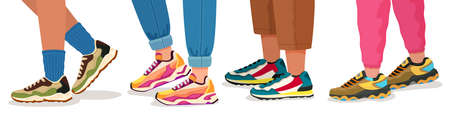 Feet in sneakers. Female and male walking legs in sport shoes with socks, pants and jeans. Trendy fashion fitness footwear vector concept. Colorful comfortable trainers on young people Vetores