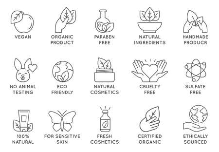 Organic cosmetics icon. Eco friendly cruelty free line badges for beauty products and vegan food. No animal tested, natural icons vector set. For sensitive skin, ethically sourced collection