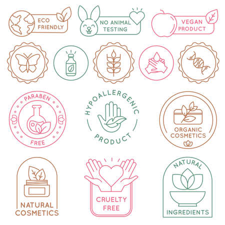 Organic cosmetics badges. Bio beauty products for skin, package seal ecology, vegan, natural ingredient. Eco food icon and label vector set. Cruelty and paraben free cosmetology for care