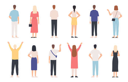 People from behind. Adult man and woman back view standing poses. Happy person with hands up and waving. Rear human in clothes vector set. Female and male characters in casual outfit