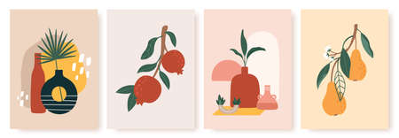 Vase and fruit print. Still life with ceramics and fruits pears, pomegranates on branch with leaves. Modern scandinavian posters vector set. Abstract minimalistic painting for cards