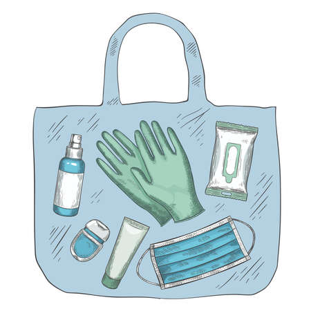 Travel sanitizer kit. Disinfectant, medical mask, gloves, alcohol spray and wipes in bag. New normal life during covid-19, vector concept. Coronavirus pandemic protection, infection prevention