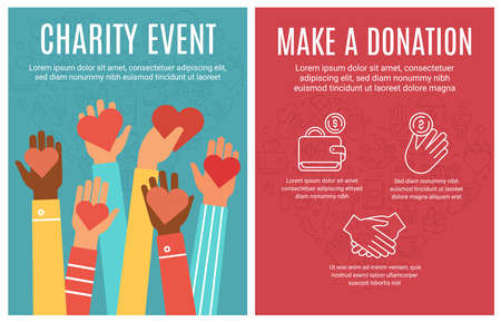 Charity event flyer. Donation and volunteering poster. Hands donate hearts and line icon elements. Community help brochure vector concept. People sharing money and love with raised arms