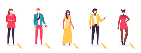 People in line keeping social distance. Diverse man and woman standing in queue with distancing. Coronavirus pandemic situation. Male and female characters wearing masks vector illustration Ilustrace