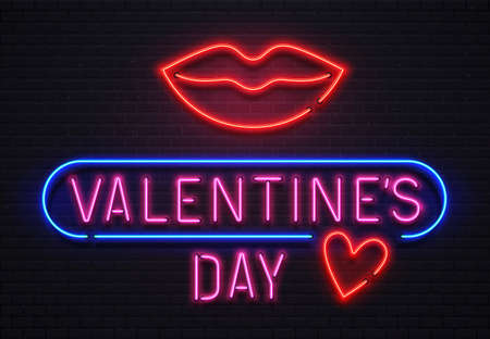 Glowing neon sign valentines day lettering with red big lips and heart for holiday. Romantic shining signboard for nightclub. Pink text with blue border on brick wall vector illustration