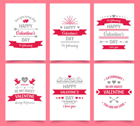 Valentine day vintage greeting card for holiday celebration. Text with love and hearts for couple, romantic wishes and frame. February 14, be my sweet valentine vector illustration posters set Ilustrace