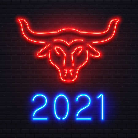 Neon red ox for 2021 New Year greeting card. Bright blue letters 2021 sign, bar or cafe signboard, light banner. Logo bull for holiday celebration. Cow symbol on brick wall vector illustration Ilustrace