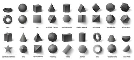 Realistic black basic geometric 3d shapes in top and front view isolated on white. Three dimensional objects as torus, sphere, cube, hexagonal pyramid and prism vector illustration